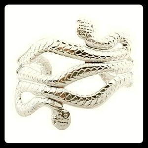 Silver tone snake bracelet/cuff
